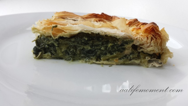 Spinach, Feta cheese and yogurt filo pastry