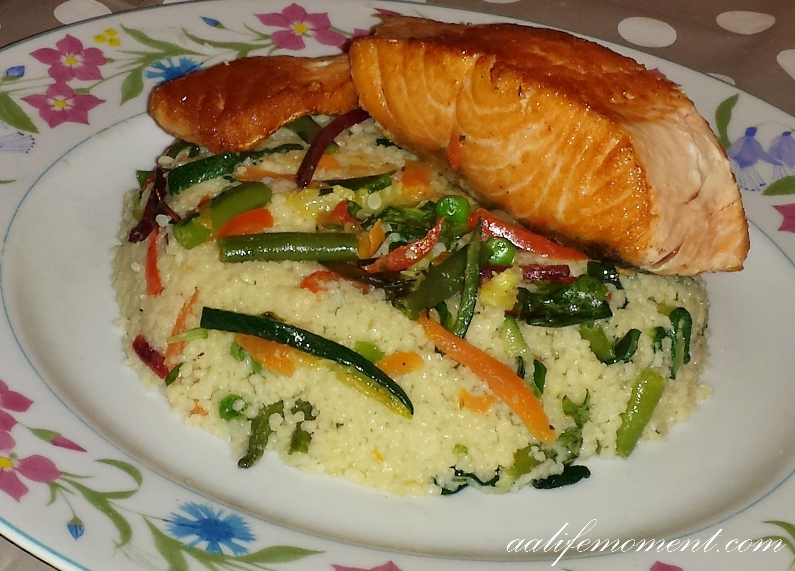 Salmon fillet with vegetables couscous