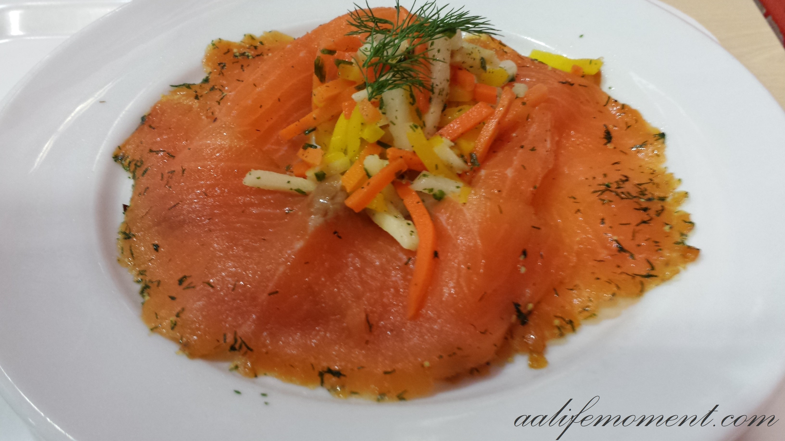 Smoked salmon and root vegetables