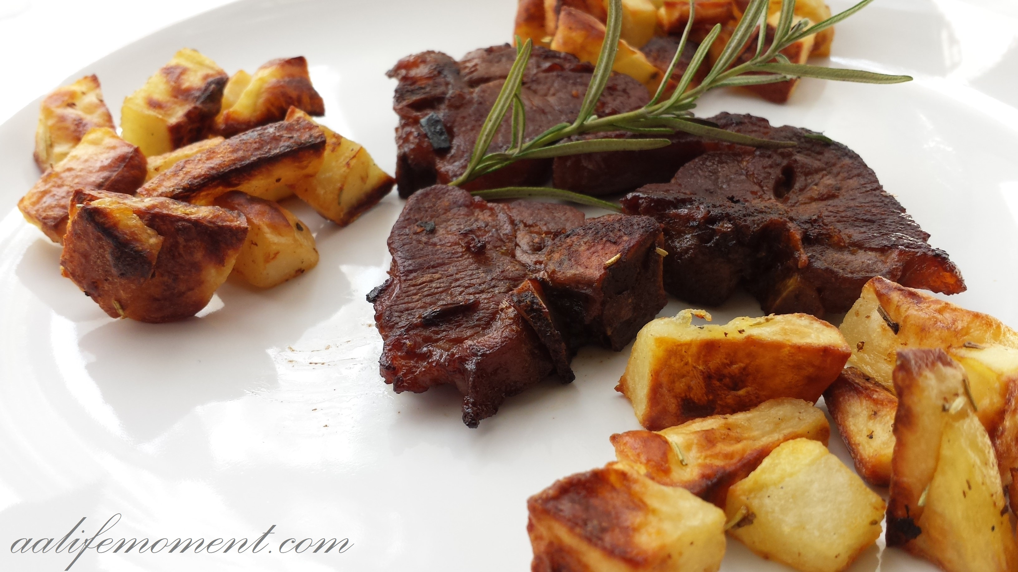 Lamb chops and roasted potatoes