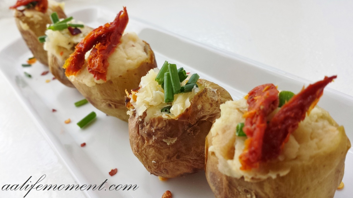 Stuffed potatoes recipe with cheese, pork belly and fresh chives