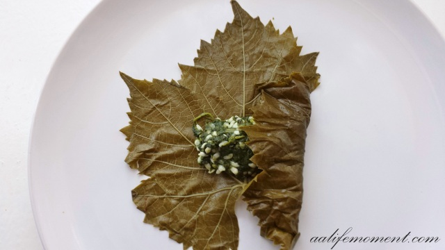 Grape leaves dolmades (Stuffed Grape Leaves with spinach, spring onion and rice)