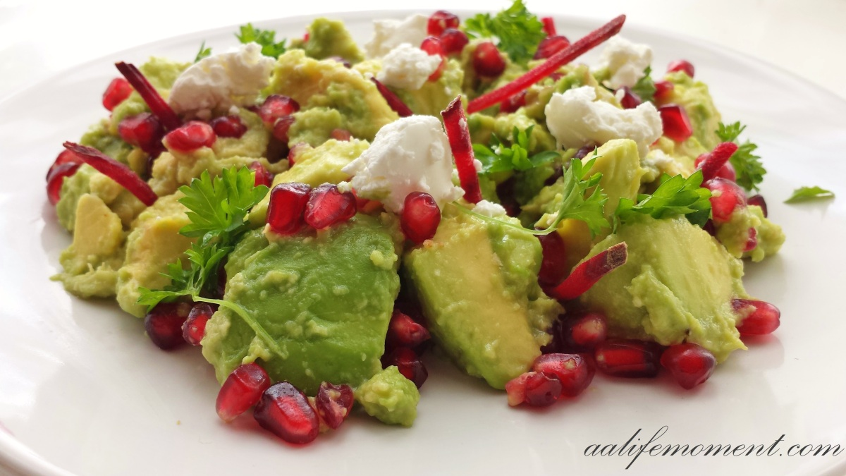Avocado, pomegranate, goat cheese and betroot salad