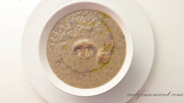 Creamy Mushroom soup with a drizzle of truffle oil