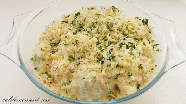 cheesy cauliflower bechamel preparation