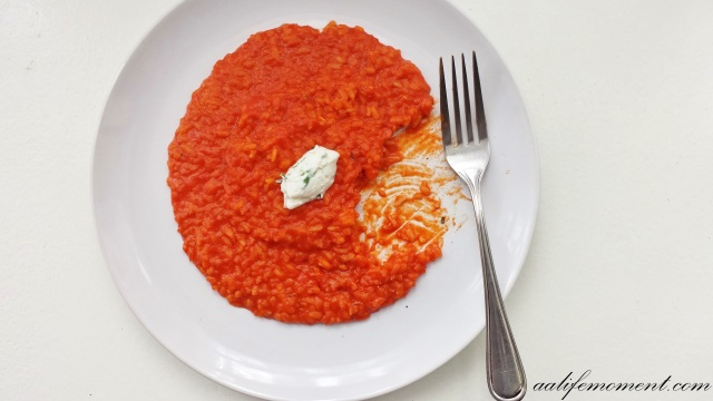 Eating Red Pepper Risotto